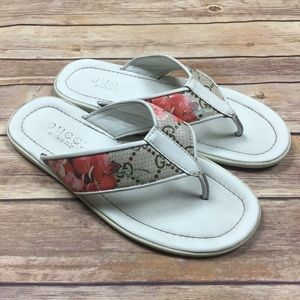 Gucci | GG Blooms White Thong Flip-Flops Sandals